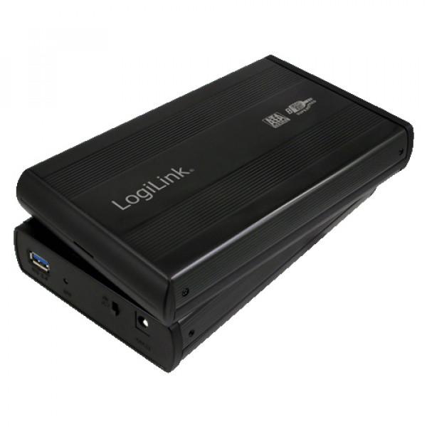 "3.5"" LogiLink Enclosure USB3.0 / SATA / Zwart Opslagbehuizingen"