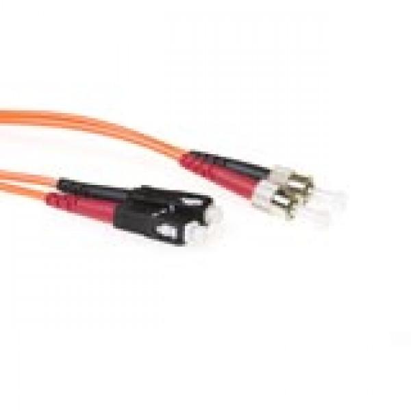 ACT 0,5 meter LSZH Multimode 50/125 OM2 glasvezel patchkabel duplex met SC en ST connectoren