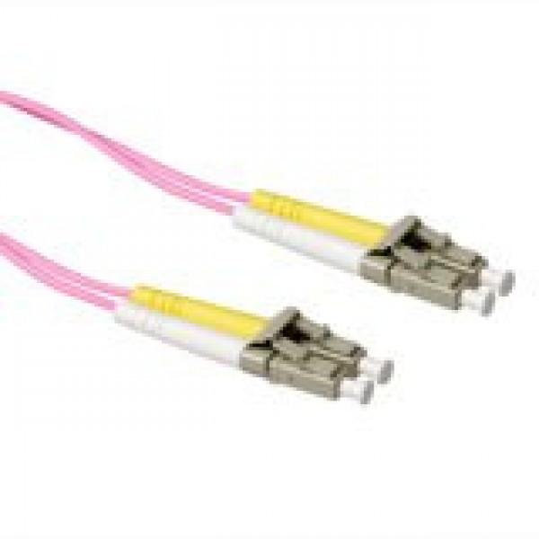 ACT 0,5 meter LSZH Multimode 50/125 OM4 glasvezel patchkabel duplex met LC connectoren