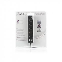 Ewent EW1130 480Mbit/s Zwart hub & concentrator Kabels en adapters