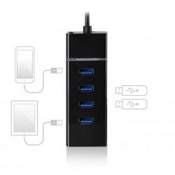 Ewent EW1137 hub & concentrator USB 3.0 (3.1 Gen 1) Type-C 5000 Mbit/s Zwart Kabels en adapters