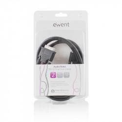 Ewent EW9835 2m DVI-D DVI-D Zwart DVI kabel Kabels en adapters