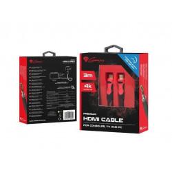 Genesis - Premium High-Speed Hdmi kabel- Geschikt voor PS4/Ps3 - 3 Meter 4K V2.0 - Zwart/Rood